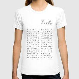 Herb list typography art T-shirt