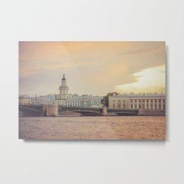 Saint Petersburg cityscape over Neva river in sunset, Russia Metal Print