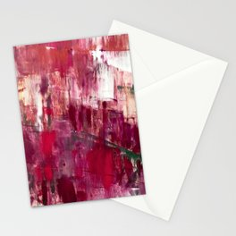 Sunset in the Valley [2]: a colorful abstract piece in reds, pink, gold, gray, and white Stationery Cards