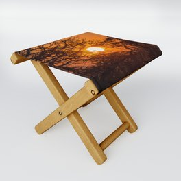 Sultry sun setting behind the sausage tree Folding Stool