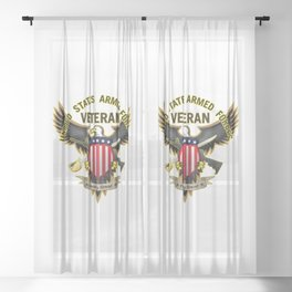 United States Armed Forces Military Veteran - Proudly Served Sheer Curtain