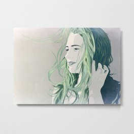 off in the distance, she dreams, in green. Metal Print