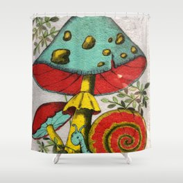 Snail and mushrooms Shower Curtain