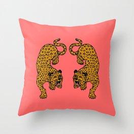 Big Cats Pink Throw Pillow