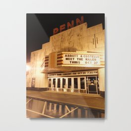 Rainy Night At The Penn Theater Metal Print