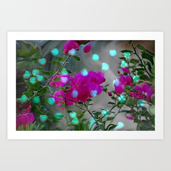HEARTS AND FLOWERS Art Print