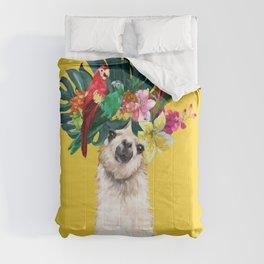 Aloha Hawaii Llama in Yellow Comforters