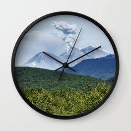 Beautiful summer volcanic landscape of Kamchatka - eruption active Zhupanovsky Volcano Wall Clock