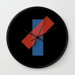 Red on Blue Semi-Transparent Abstract Art Piece Wall Clock