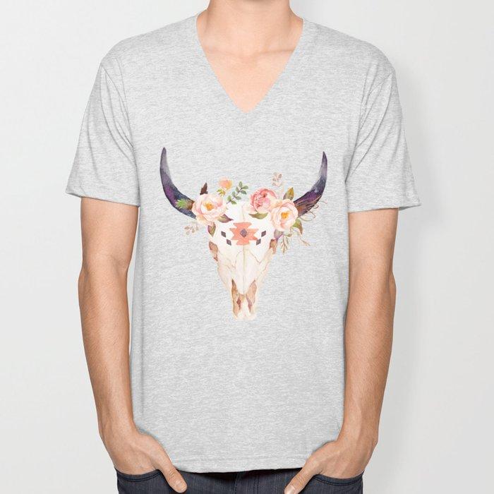 Bull Head Skull Boho Flowers Unisex V-Neck