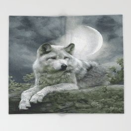 WOLF AND MOON Throw Blanket
