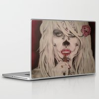 wes anderson Laptop & iPad Skins featuring Modified Portrait of Pamela Anderson by Skillz&Ink