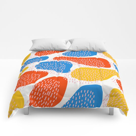 Abstract Orange, Blue and Yellow Memphis Inspired Pattern Comforters