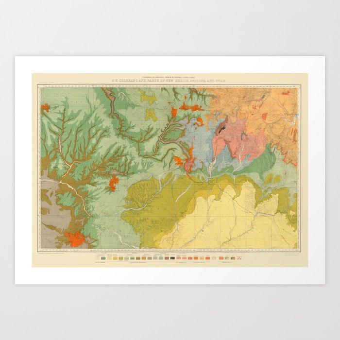 Vintage Southwest Map Art Print