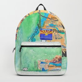 USA Arizona State Travel Poster Illustrated Art Map Backpack