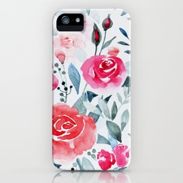 Red roses watercolor painting iPhone Case