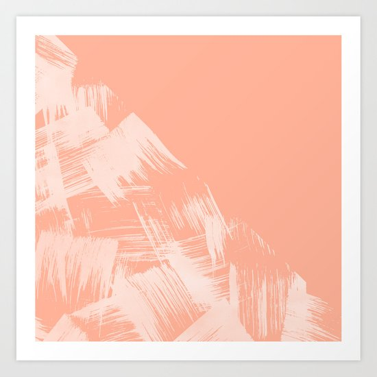 Sweet Life Paint Swipes Peach Coral Pink Art Print
