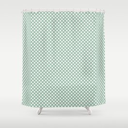 Grayed Jade and White Polka Dots Shower Curtain