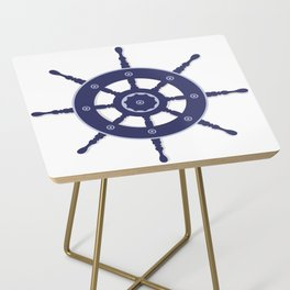 AFE Nautical Navy Helm Wheel Side Table