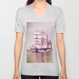 Tall Ships in Boston -USCG Unisex V-Neck