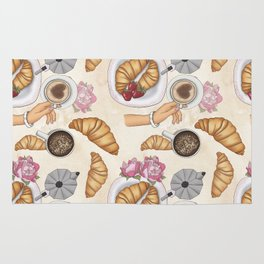 Good Morning Strawberries, Croissants And Coffee Pattern Rug