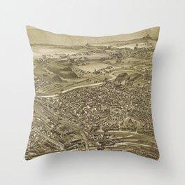 Vintage Pictorial Map of Scranton PA (1890) Throw Pillow
