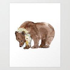 Bear with flower boa Art Print
