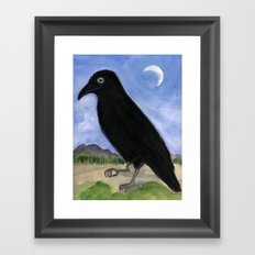 The Raven and the Moon Framed Art Print