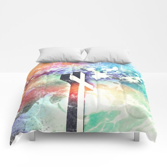 Holy Cross Pastel Distressed Comforters