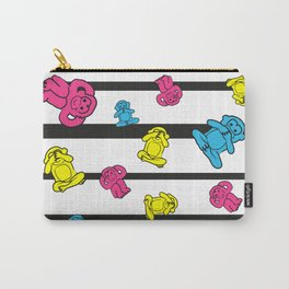 Colorful monkeys on black stripes Carry-All Pouch