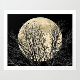 Tree with Crow Against Full Moon A181 Art Print