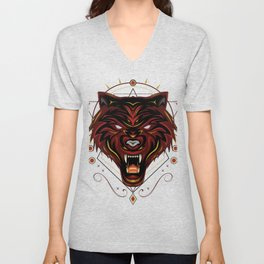 Red wolf logo, angry wolves face, head wolf illustration with dark style. design for apparel and merchandise. Unisex V-Neck