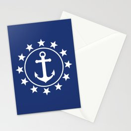 White Anchors & Stars Pattern on Navy Blue Stationery Cards