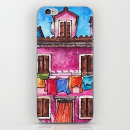 Burano laundry ink and watercolor illustration iPhone Skin