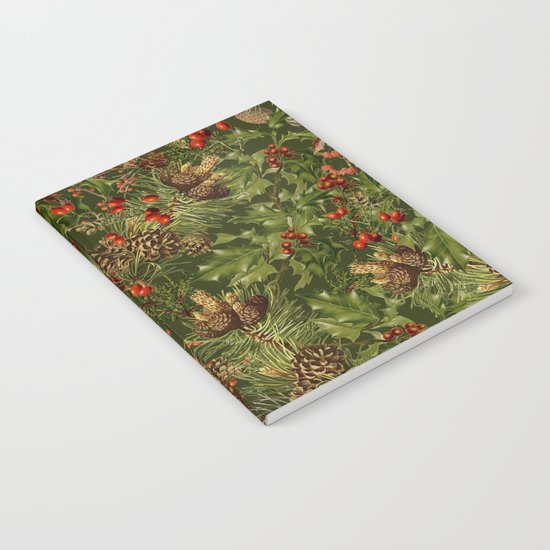Traditional Holly Christmas Pattern Notebook