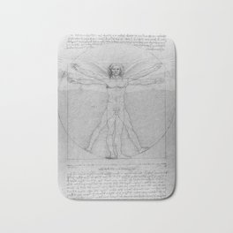 Leonardo da Vinci Vitruvian Man with Wings Study of Angels Bath Mat