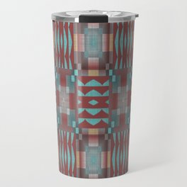 Coral Red Brown Aqua Turquoise Mosaic Pattern Travel Mug