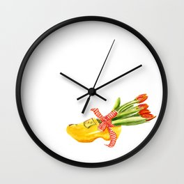 Typical Dutch wooden shoe with tulips Wall Clock