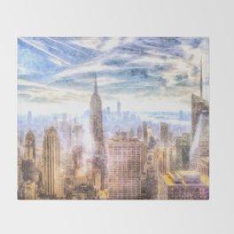 New York Manhattan Skyline Art Throw Blanket