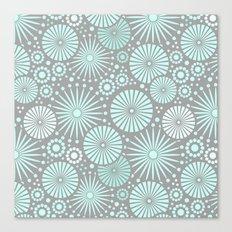 Mint and grey geometric flowers Canvas Print