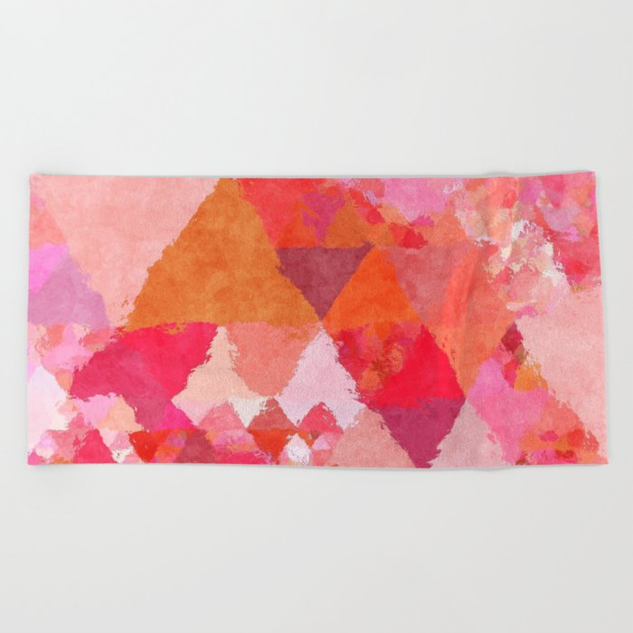 Into the heat - Pink and red watercolor Triangle pattern Beach Towel