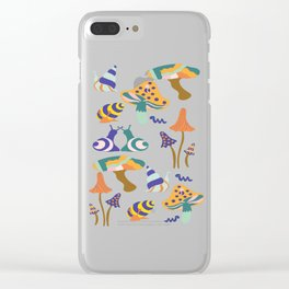 Colorful autumn mushrooms and snail Clear iPhone Case