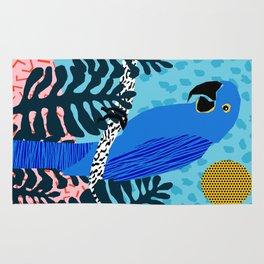 Steaz - memphis throwback tropical retro minimal bird art 1980s 80s style pattern parrot fashion Rug