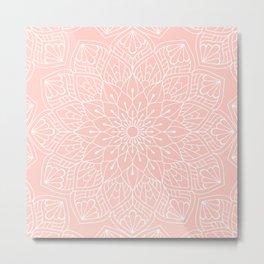 White Mandala Pattern on Rose Pink Metal Print