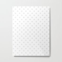 Small Polka Dots - Pale Gray on White Metal Print