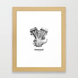 Vintage Harley Panhead Motorcycle Engine Framed Art Print