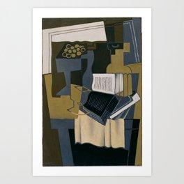 Juan Gris, 1910-1927 - Carafe et livre Art Print