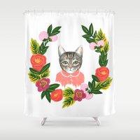 leah flores Shower Curtains featuring Scout con Flores by Leah Romero
