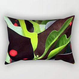 Hawaiian Tropical Island Exotic Spotted Leaves Rectangular Pillow