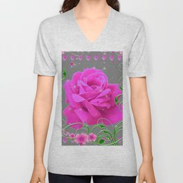 ROMANTIC CERISE PINK ROSE GREY ART RIBBONS Unisex V-Neck